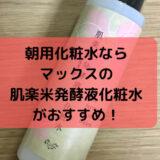 朝用化粧水のおすすめは肌楽米発酵液化粧水
